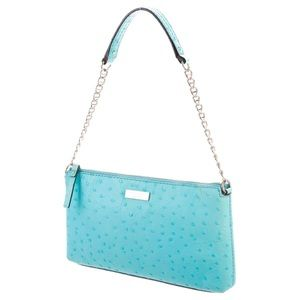 Kate Spade Small Blue Ostrich Pool Leather Purse